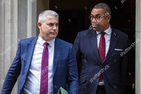 Stock Image of Secretary of State for Exiting the European Union Stephen Barclay (L) and Minister Without Portfolio James Cleverly (R) leave 10 Downing Street after the Cabinet meeting.