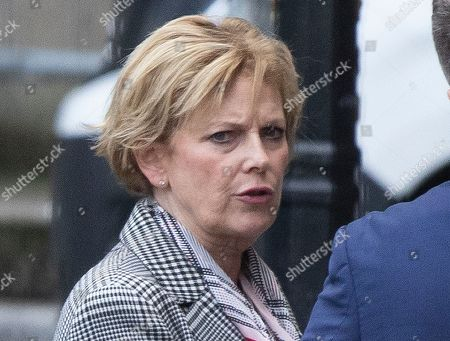 Leader of The Independent Group Anna Soubry talks to a colleague in The Houses of Parliament.