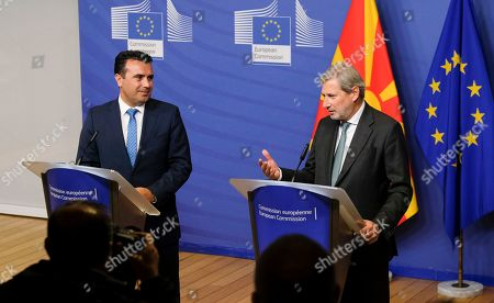 Stock Image of North Macedonia Prime Minister Zoran Zaev (L) and EU Commissioner for Enlargement Negotiations, Johannes Hahn, give a press biefing after a meeting in Brussels, Belgium, 16 October 2019.
