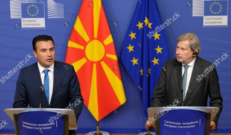 North Macedonia Prime Minister Zoran Zaev (L) and EU Commissioner for Enlargement Negotiations, Johannes Hahn, give a press biefing after a meeting in Brussels, Belgium, 16 October 2019.