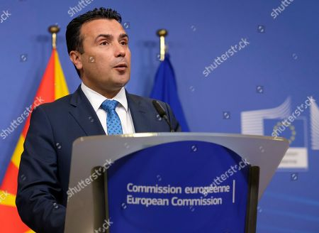 Editorial image of North Macedonia prime minister visits EU Commission, Brussels, Belgium - 16 Oct 2019