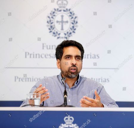 US mathematician and engineer Salman Khan attends a press conference on his distinction with the Princess of Asturias Award for International Cooperation, in Oviedo, Spain, 16 October 2019. The Princess of Asturias Awards are given every year to personalities or organizations from all around the world who make significant achievements in the sciences, arts, literature, humanities and sports. The ceremony will be held on 18 October 2019.