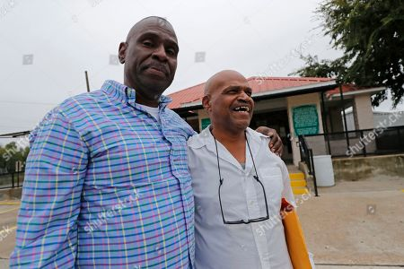 Elvis Brooks walks out of the Louisiana State Penitentiary at Angola with his brother Aaron Brooks, left, in Angola, La., . Elvis Brooks, who has spent two-thirds of his life in prison for a killing he always denied committing, pleaded guilty to manslaughter and was released. Since his arrest in 1977, Brooks has maintained that he's innocent. Innocence Project-New Orleans attorneys say evidence that would have cleared him was withheld at trial. Prosecutors offered the plea agreement Tuesday which was accepted