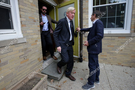 Bill Weld, Alan Solomont. Republican presidential candidate and former Massachusetts Gov. Bill Weld, center, and Alan Solomont, dean of the Jonathan M. Tisch College of Civic Life at Tufts University and former U.S. ambassador to Spain and Andorra, right, depart following a campaign stop, at Tufts University in Medford, Mass
