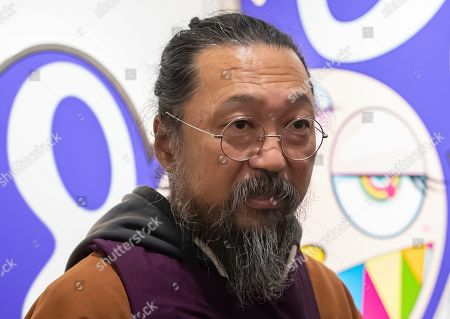 Stock Image of Japanese artist Takashi Murakami attends the opening of an exhibition of his works at the Perrotin gallery in Paris, France, 16 October 2019. The exhibit runs until 19 December 2019.