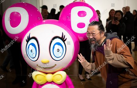 Stock Photo of Japanese artist Takashi Murakami attends the opening of an exhibition of his works at the Perrotin gallery in Paris, France, 16 October 2019. The exhibit runs until 19 December 2019.