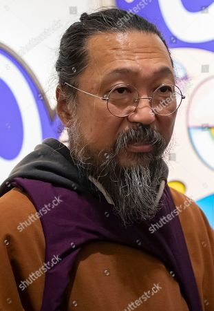 Japanese artist Takashi Murakami attends the opening of an exhibition of his works at the Perrotin gallery in Paris, France, 16 October 2019. The exhibit runs until 19 December 2019.