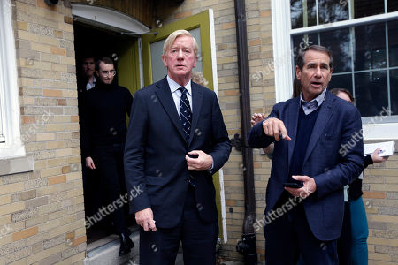 Republican presidential candidate and former Massachusetts Gov. Bill Weld, center, and Alan Solomont, dean of the Jonathan M. Tisch College of Civic Life at Tufts University and former U.S. ambassador to Spain and Andorra, right, depart following a campaign stop, at Tufts University, in Medford, Mass