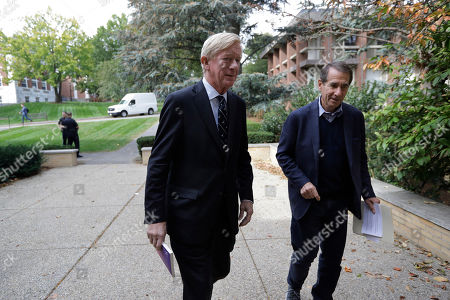 Republican presidential candidate and former Massachusetts Gov. Bill Weld, center, and Alan Solomont, dean of the Jonathan M. Tisch College of Civic Life at Tufts University and former U.S. ambassador to Spain and Andorra, right, arrive at a Weld campaign stop, at Tufts University, in Medford, Mass