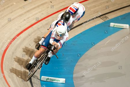 Laura Kenny, Ellie Dickinson, Katie Archibald and Neah Evans of Great Britain compete in the Women's Team Pursuit qualifying.