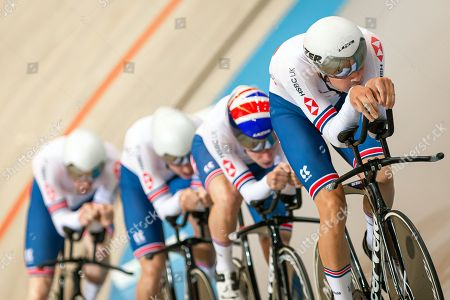 Charlie Tanfield, Ethan Hayter, Ollie Wood and Ed Clancy of Great Britain during the Men's Team Pursuit qualifying.