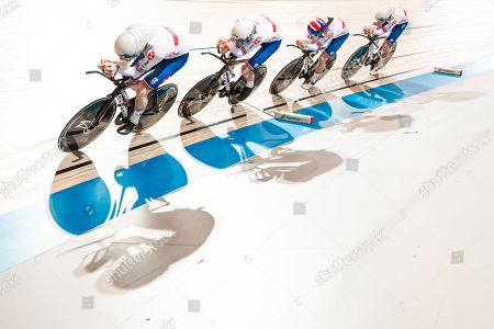 Charlie Tanfield, Ethan Hayter, Ollie Wood and Ed Clancy of Great Britain during the Men's Team Pursuit first round.