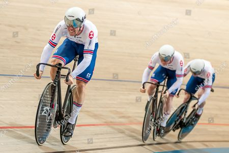 Ryan Owens, Jack Carlin and Jason Kenny of Great Britain compete in the Men's Team Sprint first round.