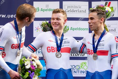 Ryan Owens, Jack Carlin and Jason Kenny of Great Britain win Silver in the Men's Team Sprint final.