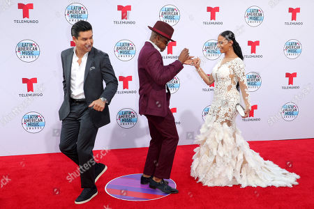 Stock Picture of Mario Lopez, Ne-Yo and Crystal Renay