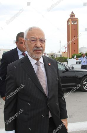 Tunisian Islamist-inspired Ennahdha party leader Rached Ghannouchi attends an official ceremony