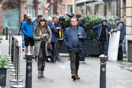 John Thomson and Claire Keelan being filmed for a new series of 'Cold Feet', in and around King Street and Pall Mall in Manchester City Centre.