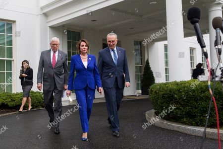 Nancy Pelosi, Steny Hoyer, Chuck Schumer. House Majority Leader Steny Hoyer of Md., left, House Speaker Nancy Pelosi of Calif., and Senate Minority Leader Chuck Schumer of N.Y., arrive to speak with reporters after a meeting with President Donald Trump at the White House, in Washington