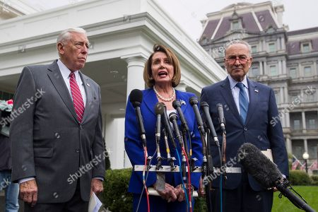 Nancy Pelosi, Steny Hoyer, Chuck Schumer. House Majority Leader Steny Hoyer of Md., left, House Speaker Nancy Pelosi of Calif., and Senate Minority Leader Chuck Schumer of N.Y., speak with reporters after a meeting with President Donald Trump at the White House, in Washington