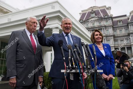 Nancy Pelosi, Steny Hoyer, Chuck Schumer. House Majority Leader Steny Hoyer of Md., Senate Minority Leader Chuck Schumer of N.Y., and House Speaker Nancy Pelosi of Calif., speak with reporters after a meeting with President Donald Trump at the White House, in Washington