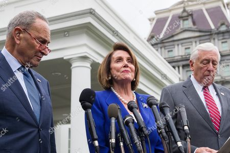 Nancy Pelosi, Steny Hoyer, Chuck Schumer. Senate Minority Leader Chuck Schumer of N.Y., left, House Speaker Nancy Pelosi of Calif., and House Majority Leader Steny Hoyer of Md., speak with reporters after a meeting with President Donald Trump at the White House, in Washington