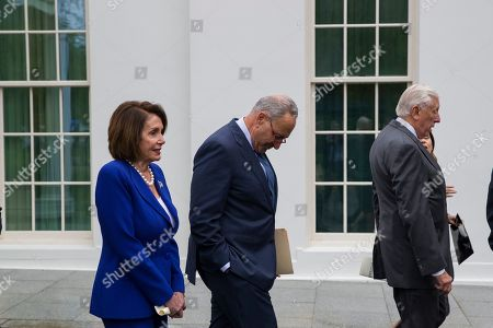 Nancy Pelosi, Steny Hoyer, Chuck Schumer. House Speaker Nancy Pelosi of Calif., left, Senate Minority Leader Chuck Schumer of N.Y., and House Majority Leader Steny Hoyer of Md., depart after speaking with reporters after a meeting with President Donald Trump at the White House, in Washington