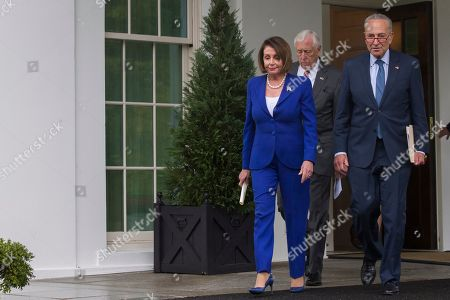 Nancy Pelosi, Steny Hoyer, Chuck Schumer. House Speaker Nancy Pelosi of Calif., left, followed by Senate Minority Leader Chuck Schumer of N.Y., right, and House Majority Leader Steny Hoyer of Md., arrive to speak with reporters after a meeting with President Donald Trump at the White House, in Washington