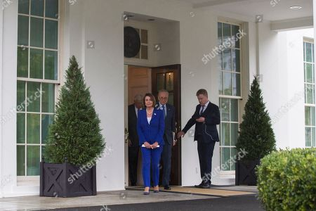 Nancy Pelosi, Steny Hoyer, Chuck Schumer. House Speaker Nancy Pelosi of Calif., center, followed by Senate Minority Leader Chuck Schumer of N.Y., right, and House Majority Leader Steny Hoyer of Md., arrive to speak with reporters after a meeting with President Donald Trump at the White House, in Washington