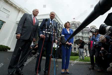 Nancy Pelosi, Steny Hoyer, Chuck Schumer. House Majority Leader Steny Hoyer of Md., left, Senate Minority Leader Chuck Schumer of N.Y., and House Speaker Nancy Pelosi of Calif., speak with reporters after a meeting with President Donald Trump at the White House, in Washington