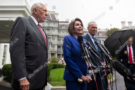 US Speaker of the House Democrat Nancy Pelosi (C), Senate Minority Leader Democrat Chuck Schumer (R), and House Majority Leader Democrat Steny Hoyer (L) deliver remarks to members of the news media outside the West Wing of the White House following a meeting between US President Donald J. Trump and Congressional leaders, in Washington, DC, USA, 16 October 2019. Trump met with Congressional leaders to discuss the US withdrawal from Syria.