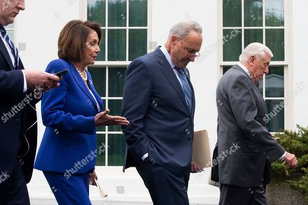 US Speaker of the House Democrat Nancy Pelosi (L), Senate Minority Leader Democrat Chuck Schumer (C) and House Majority Leader Democrat Steny Hoyer (R) walk away outside the West Wing of the White House following a meeting between US President Donald J. Trump and Congressional leaders, in Washington, DC, USA, 16 October 2019. Trump met with Congressional leaders to discuss the US withdrawal from Syria.