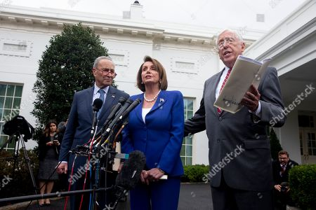 Stock Image of US Speaker of the House Democrat Nancy Pelosi (C), Senate Minority Leader Democrat Chuck Schumer (L), and House Majority Leader Democrat Steny Hoyer (R) deliver remarks to members of the news media outside the West Wing of the White House following a meeting between US President Donald J. Trump and Congressional leaders, in Washington, DC, USA, 16 October 2019. Trump met with Congressional leaders to discuss the US withdrawal from Syria.