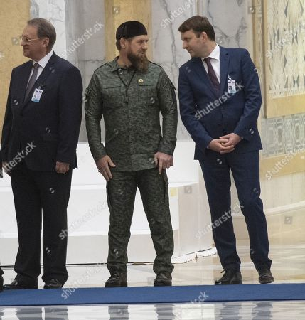 Talks between Russian President Vladimir Putin and the Crown Prince of the Emirate of Abu Dhabi and Deputy Supreme Commander of the United Arab Emirates Armed Forces Crown Prince Sheikh Mohammed bin Zayed Al Nahyan took place in the Qasr Al Watan palace. From left: Russian Deputy Foreign Minister Mikhail Bogdanov, Head of the Chechen Republic Ramzan Kadyrov and Russian Minister of Economic Development Maxim Oreshkin during the official welcoming ceremony.