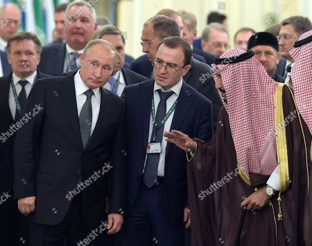 Stock Photo of From left: Rosatom State Corporation CEO Alexei Likhachev, Roskosmos State Space Corporation CEO Dmitry Rogozin, Russian President Vladimir Putin, Russian Presidential Aide Yuri Ushakov, Russian Foreign Minister Sergey Lavrov and Saudi Arabia's King Salman bin Abdulaziz Al Saud, right, during a meeting at the Royal Palace Complex.