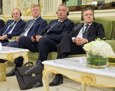 From left: Director General of the Rosatom State Corporation Alexei Likhachev, Director General of the Roscosmos State Corporation for Space Activities Dmitry Rogozin and Chairman of the Management Board of Rusnano, Chairman of the Board of the Fund for Infrastructure and Educational Programs Anatoly Chubais during Russian-Saudi talks at the Royal Palace Complex.