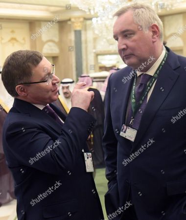Russian Minister of Construction and Housing and Communal Services Vladimir Yakushev (left) and Director General of the State Space Corporation Roscosmos Dmitry Rogozin (right) before the Russian-Saudi talks at the Royal Palace Complex.