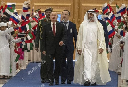 Talks between Russian President Vladimir Putin and the Crown Prince of the Emirate of Abu Dhabi and Deputy Supreme Commander of the United Arab Emirates Armed Forces Crown Prince Sheikh Mohammed bin Zayed Al Nahyan took place in the Qasr Al Watan palace. Russian President Vladimir Putin, left, and the Crown Prince of the Emirate of Abu Dhabi and Deputy Supreme Commander of the United Arab Emirates Armed Forces Crown Prince Sheikh Mohammed bin Zayed Al Nahyan, right, during the official welcoming ceremony.