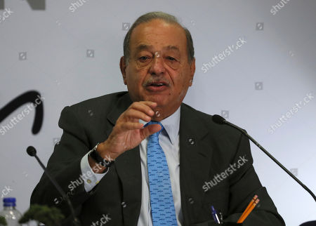 Mexican billionaire Carlos Slim speaks during a news conference at his office in Mexico City,. Slim says he supports President Andrés Manuel López Obrador's objectives