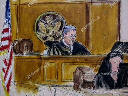 In this courtroom artist's sketch, Magistrate Judge Stewart Aaron sits at the bench during an initial court appearance of David Correia in New York. Correia, 44, accused of conspiring with associates of Rudy Giuliani to make illegal campaign contributions, made a brief appearance before a federal judge in Manhattan, who ordered him released on a $250,000 bond