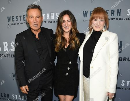 """Bruce Springsteen, Jessica Springsteen, Patti Scialfa. Singer-songwriter and co-director Bruce Springsteen, left, daughter Jessica Springsteen and wife Patti Scialfa attend the special screening of """"Western Stars"""" at Metrograph, in New York"""