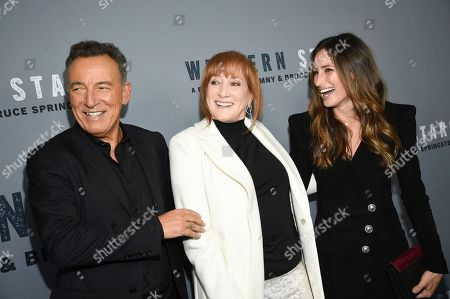 """Bruce Springsteen, Patti Scialfa, Jessica Springsteen. Singer-songwriter and co-director Bruce Springsteen, left, wife Patti Scialfa and daughter Jessica Springsteen attend the special screening of """"Western Stars"""" at Metrograph, in New York"""