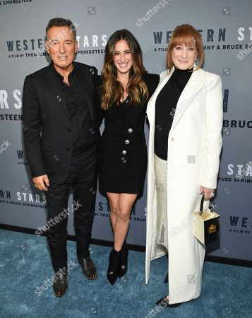 """Bruce Springsteen, Jessica Springsteen, Patti Scialfa. Singer-songwriter Bruce Springsteen, left, daughter Jessica Springsteen and wife Patti Scialfa attend the special screening of """"Western Stars"""" at Metrograph, in New York"""