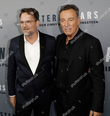 Stock Image of Bruce Springsteen (R) and US filmmaker Thom Zimny (L) attend the New York special screening of the documentary film 'Western Stars' at the Metrograph Theatre in New York, New York, USA, 16 October 2019.