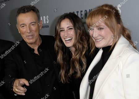 Bruce Springsteen (L), his daughter Jessica (C) and his wife Patti Scialfa (R) attend the New York special screening of the documentary film 'Western Stars' at the Metrograph Theatre in New York, New York, USA, 16 October 2019.