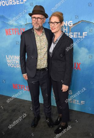"""Jonathan Dayton, Valerie Faris. Directors Jonathan Dayton, left, and Valerie Faris arrive at the Los Angeles premiere of """"Living With Yourself"""", at ArcLight Hollywood"""