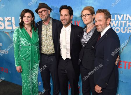 """Aisling Bea, Jonathan Dayton, Paul Rudd, Valerie Faris, Timothy Greenberg. Aisling Bea, from left, director Jonathan Dayton, Paul Rudd, director Valerie Faris and executive producer/writer Timothy Greenberg arrive at the Los Angeles premiere of """"Living With Yourself"""", at ArcLight Hollywood"""