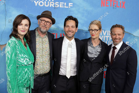 Stock Image of Aisling Bea, US director Jonathan Dayton, US actor Paul Rudd, US director Valerie Faris and US writer, director and producer Timothy Greenberg, pose on the red carpet during the premiere of Netflix new series 'Living With Yourself', at the ArcLight Hollywood cinema in Los Angeles, California, USA, 16 October 2019. The series will air on Netflix on 18 October 2019.