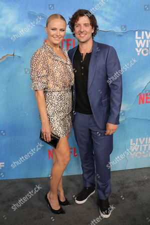 Malin Akerman (L) and her husband, British actor Jack Donnelly (R), pose on the red carpet during the premiere of Netflix new series 'Living With Yourself', at the ArcLight Hollywood cinema in Los Angeles, California, USA, 16 October 2019. The series will air on Netflix on 18 October 2019.