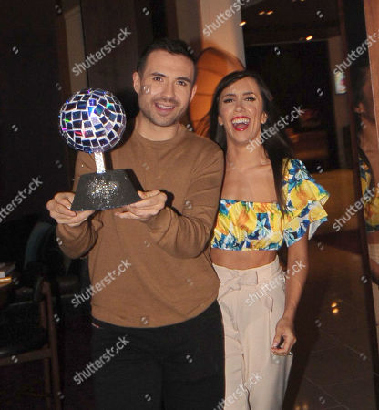 Will Bayley and Janette Manrara with a trophy given today to Will by Great Ormond Street Hospital