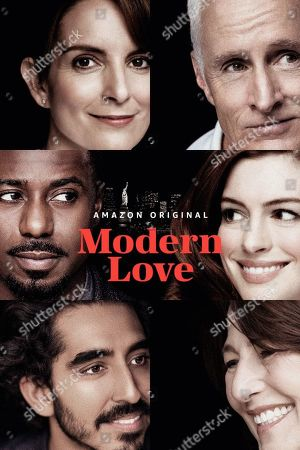 Modern Love (2019) Poster Art. Dev Patel as Joshua, Gary Carr as Jeff, Tina Fey as Sarah, John Slattery as Dennis, Anne Hathaway as Lexi and Catherine Keener as Julie